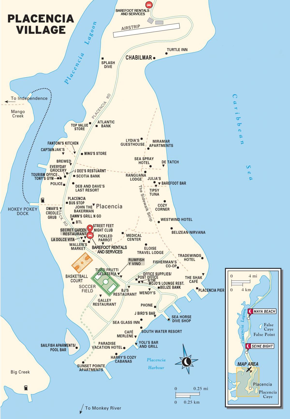 mapa placencia village Belize